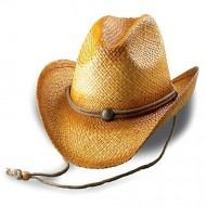 Straw Cowboy Hats: Raffia Straw w/ Tea Stained - Natural - HT-8158NT